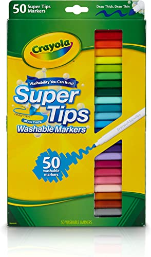 Crayola Washable SuperTips Markers, 50 Vibrant Colours, Perfect for the Classroom, School Booklists or drawing at hom...