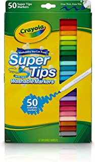 Crayola Washable SuperTips Markers, 50 Vibrant Colours, Perfect for the Classroom, School Booklists or drawing at home. Du...