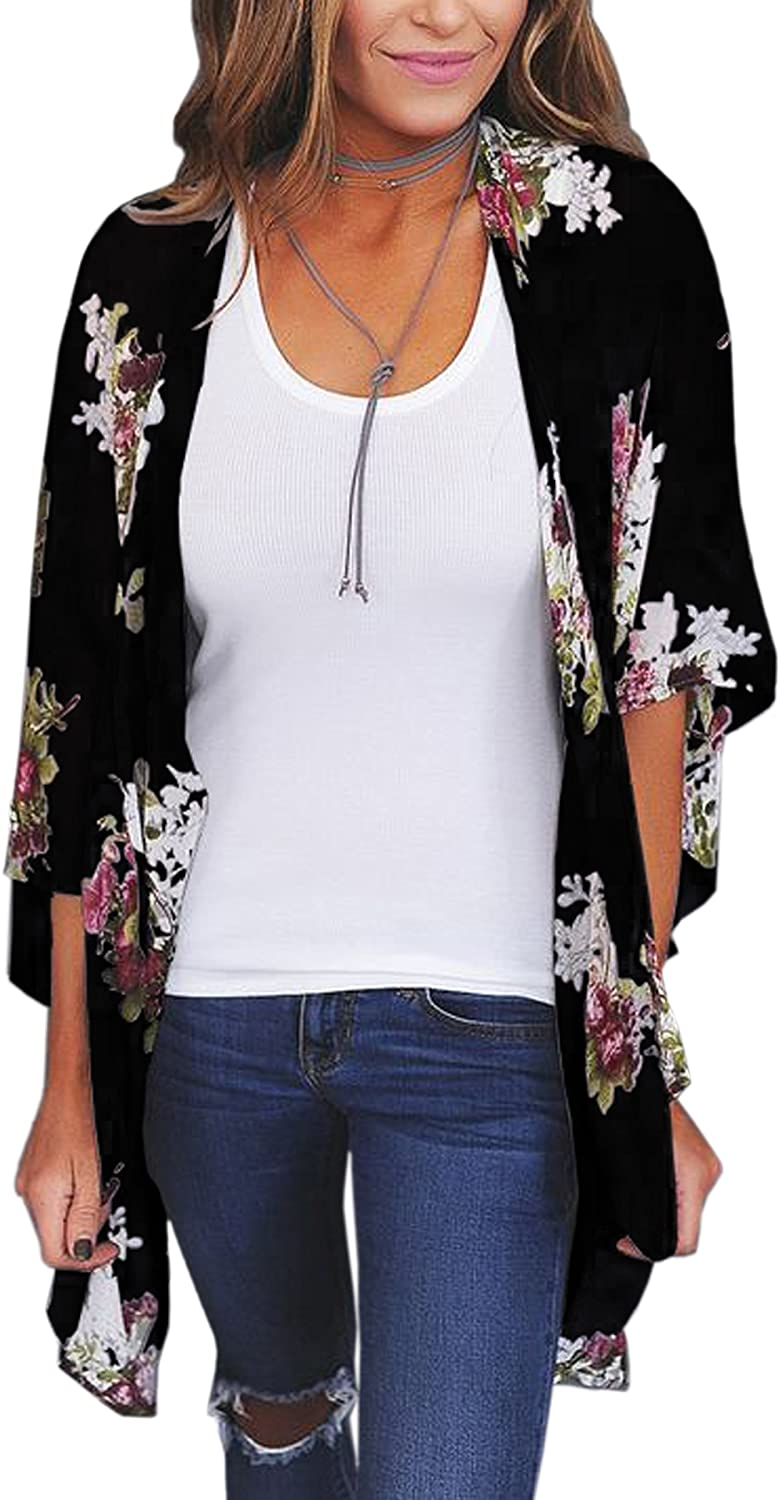ECOWISH Womens Kimono Cardigan Floral Print Sheer Capes Loose Cardigans Cover Up Blouse Tops