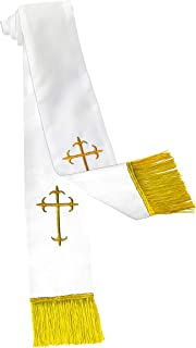 Clergy Stole with Crosses (White/Gold)