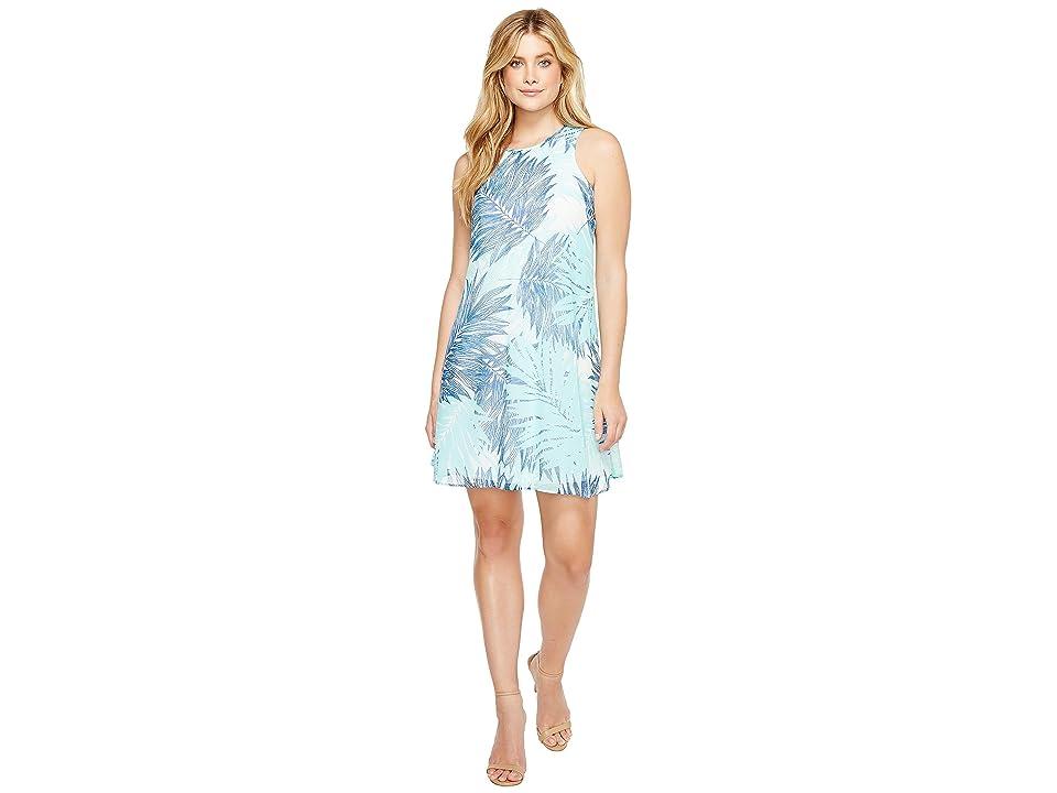 Calvin Klein Printed Trapeze Dress (Seaglass Multi) Women