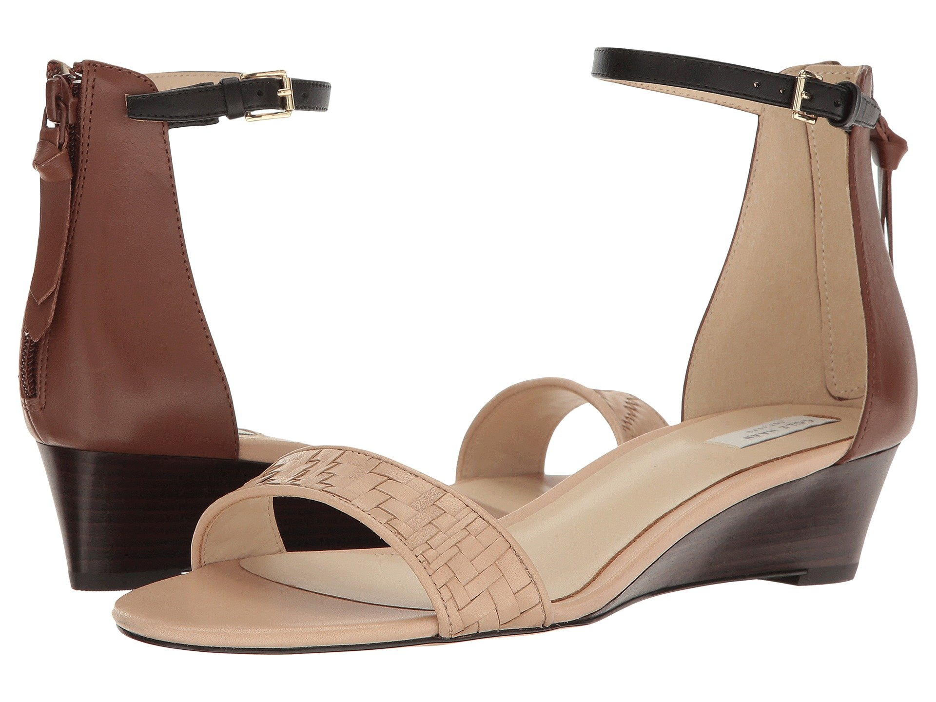 Genevieve Weave Wedge, Nude Genevieve Weave/Harvest Brown Leather/Black Leather