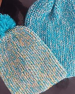 Set familiar de 2 gorros-bini gordos, multicolor, de lana, algodón y acrílico, para padre/madre y niño/a de 4-8 años