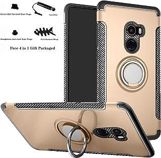 Labanema Xiaomi Mi Mix 2 Funda, 360 Rotating Ring Grip Stand Holder Capa TPU + PC Shockproof Anti-rasguños teléfono Caso protección Cáscara Cover para Xiaomi Mi Mix 2 - Oro