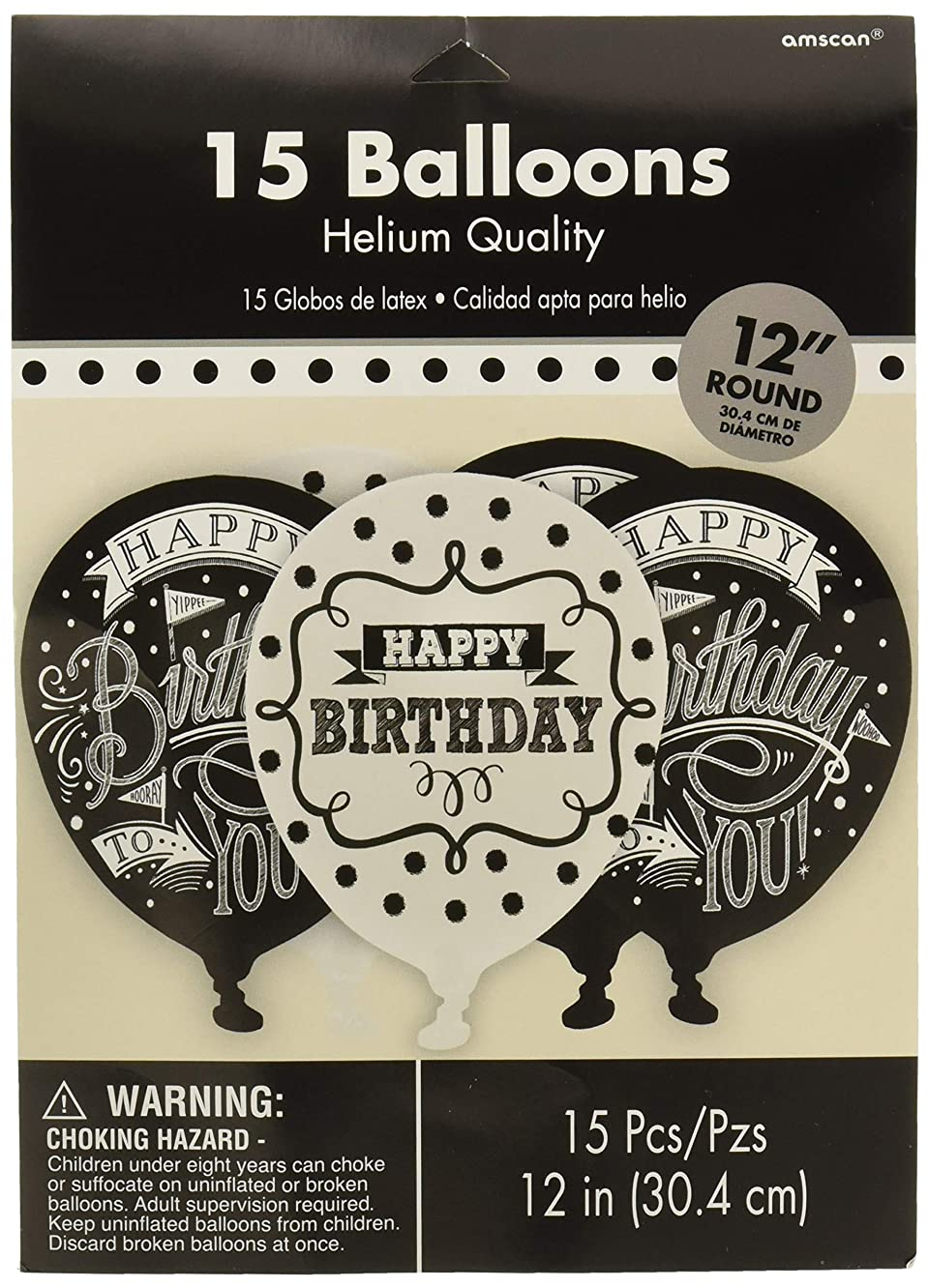 Amscan Chalkboard Birthday Printed Latex Balloons - Assorted Styles Party Supplies, Black and White, 12