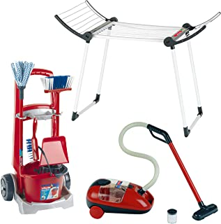 Theo Klein 6792 Vileda Cleaning Trolley with Vacuum Cleaner and Drying Rack