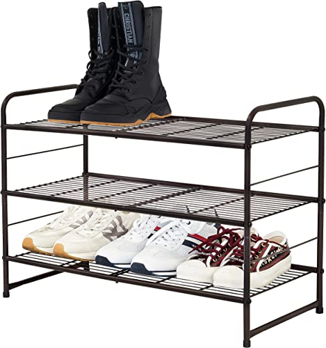 wholesale CAXXA discount Stackable and Expandable Shoe Rack, popular 3 Shelves Metal Wire Utility Rack , Bronze outlet sale