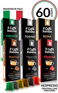 Il Caffé Italiano Coffee, Capsules Compatible with Nespresso OriginalLine, Certified Genuine Tour D'Italia Variety Pack, 60 Espresso Pods, Roasted in Messina, Italy, Happiness Guaranteed