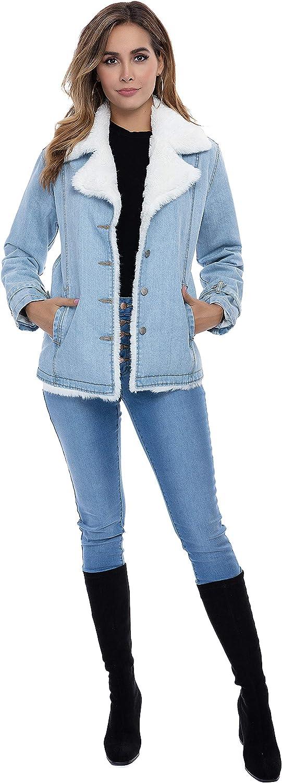 Nicasia Womens Winter Denim Jacket Outwear Sherpa Trucker Faux Fur Inside Down