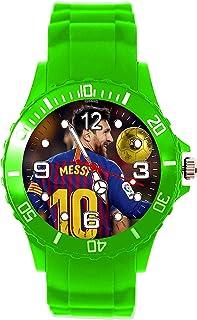 Reloj de cuarzo de silicona verde para aficionados al fútbol E2