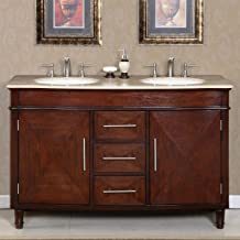 Silkroad Exclusive HYP-0222-T-UWC-55 Travertine Stone Top Double Sink Bathroom Vanity with Furniture Cabinet, 55