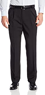Men's Big and Tall Stretch Traveler Cuffed Crosshatch Pleated Pant