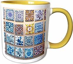 3dRose 249437_8 Mug, 11oz Yellow/White