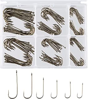 Bassdash 175 Pcs Octopus Offset Fishing Hooks, 180 Pcs Aberdeen Hooks Trout Fishing, in Assorted Sizes, Tackle Box, for Saltwater Freshwater Fishing