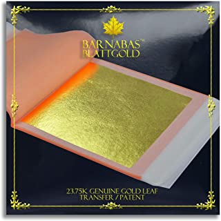 Genuine Gold Leaf Sheets 23.75k - by Barnabas Blattgold - 3.4 inches - 10 Sheets Booklet - Transfer Patent Leaf