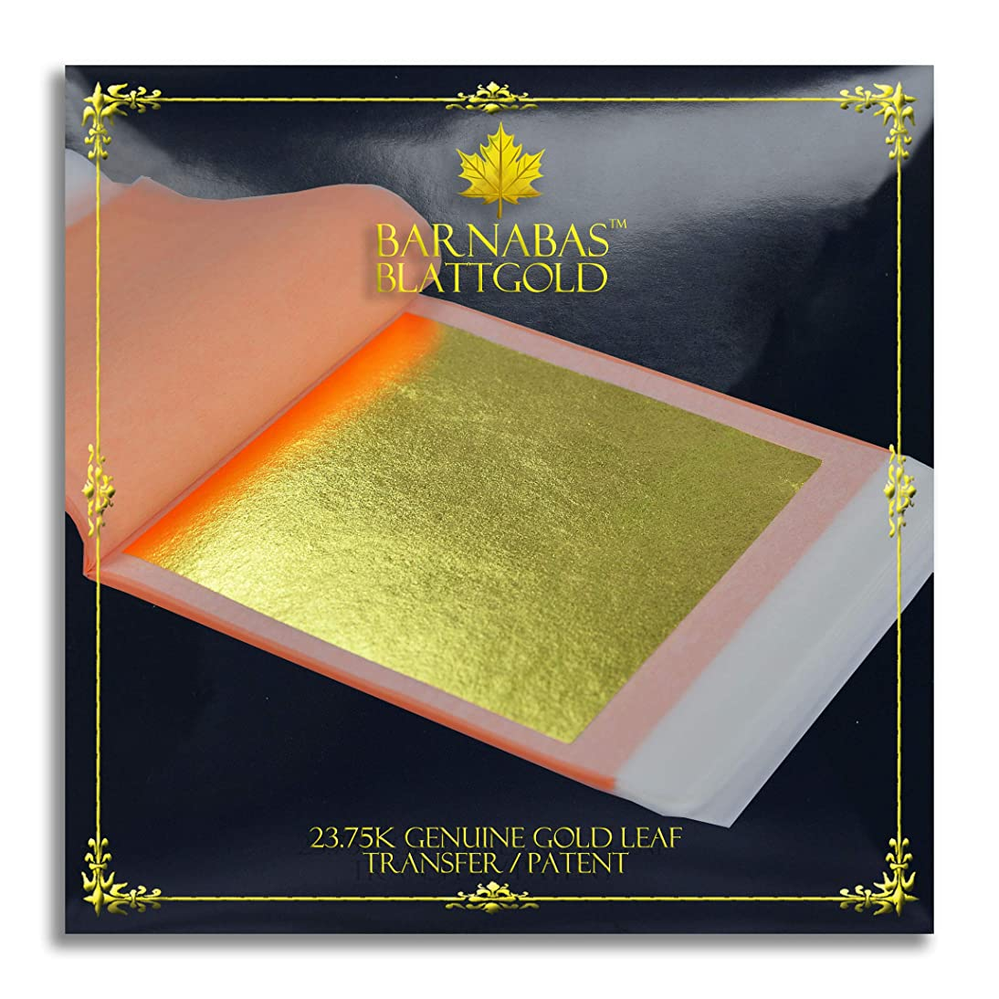 Genuine Gold Leaf Sheets 23.75k - by Barnabas Blattgold - 3.1 inches - 25 Sheets Booklet - Transfer Patent Leaf