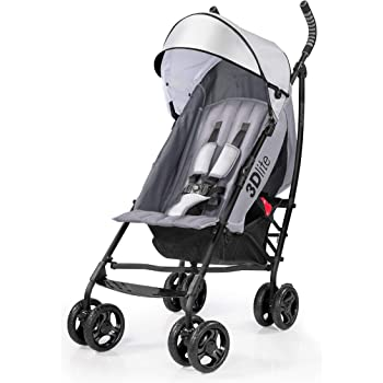 Summer 3Dlite Convenience Stroller, Gray – Lightweight Stroller with Aluminum Frame, Large Seat Area, 4 Position Recline, Extra Large Storage Basket – Infant Stroller for Travel and More
