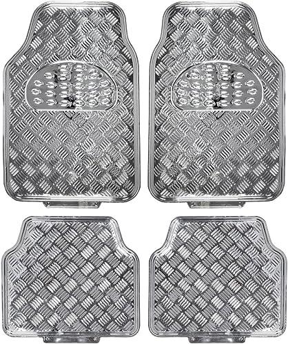 BDK Universal Fit 4-Piece Metallic Design Car Floor Mat - (Silver) (MT-641-SL)