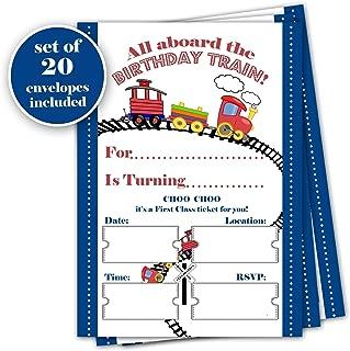 Train birthday invitation - Set of 20 with envelopes - Birthday Party Celebration