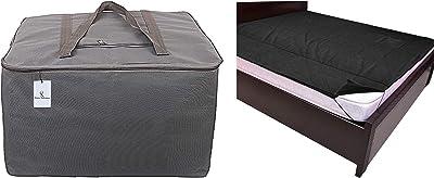 "Kuber Industries Rexine Jumbo Underbed Moisture Proof Storage Bag with Zipper Closure and Handle (Grey) -CTKTC6596 & PVC Waterproof King Size Mattress Protector 78""X72"" (Black), CTKTC013918 Combo"