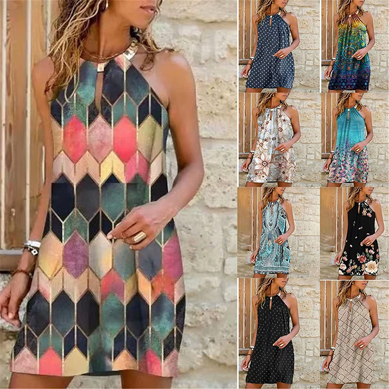 Womens Summer Dresses Floral Print Halter Neck Dress Spaghetti Strap Sleeveless Casual Beach Midi Sundress