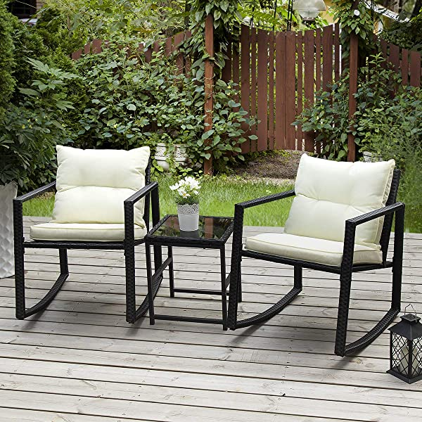 PAMAPIC Outdoor 3 Piece Rocking Bistro Set Black Wicker Patio Rocking Chairs Two Chairs With Seat And Back Cushions Beige Sophisticated Glass Coffee Table