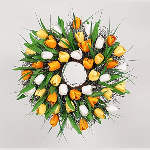 popular 12 Inch outlet online sale Front Door Wreath Artificial Tulip Flower Wreath for Easter Valentines Day Handmade Floral Wreath online Spring Christmas Garland for Door Wall Windows Wedding Party Office Home Decor outlet sale