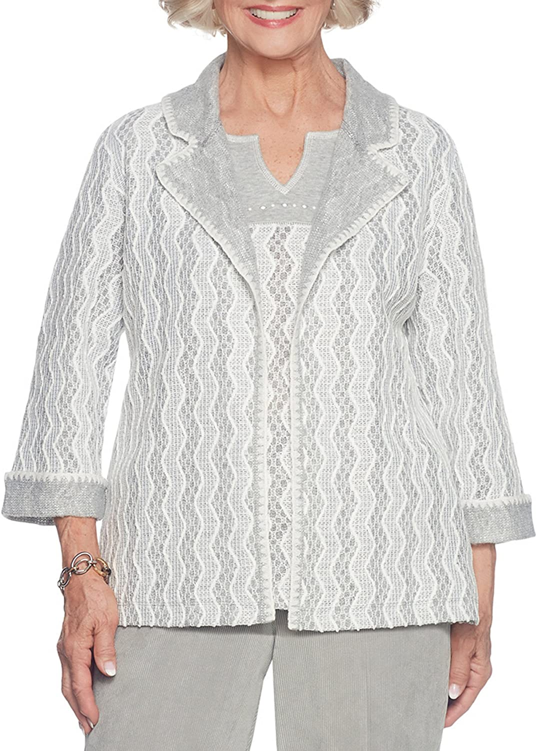 Alfred Dunner Chevron Sriped Pattern Jacket And Top Set