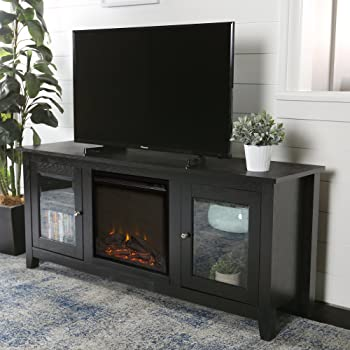 Amazon Com Lucas 58 Inch Fireplace Television Stand With Glass Doors In Black Furniture Decor