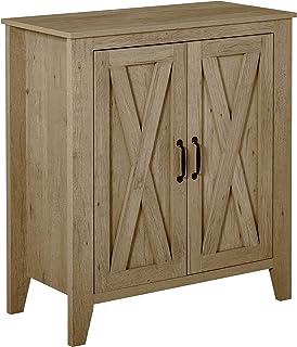 Buffet 2 portes style rural chic placard avec étagère MDF aspect bois chêne moyen