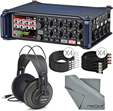 Zoom F8 Multitrack Field Recorder for Filmmaking and Sound Design w/Samson SR850 Headphones, 1/4-Inch Cable, 3 Pin XLR Cable, FiberTique Microfiber Cleaning Cloth