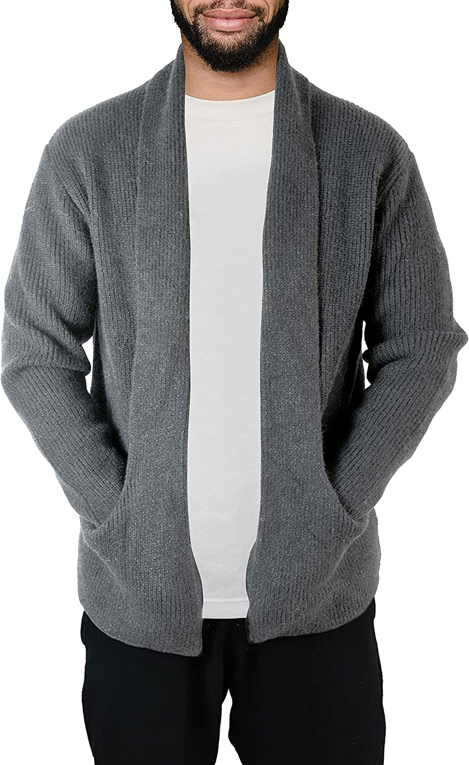 Men's New popularity Black Warm Shawl Collar Cardigan H Pocket Chunky with Excellence Knit