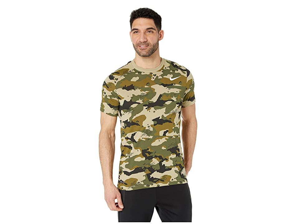Nike Dry Tee Dri-FITtm Cotton Camo All Over Print (Neutral Olive/White) Men