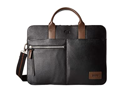Solo New York Brookfield Leather Slim Brief (Black/Brown Accent) Briefcase Bags