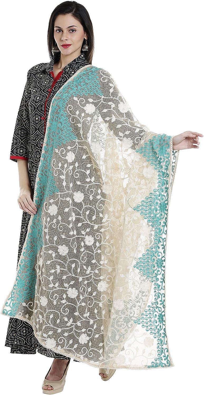Dupatta Bazaar Woman's Ivory & Aqua bluee Cotton Net Dupatta with all over Embroidery.