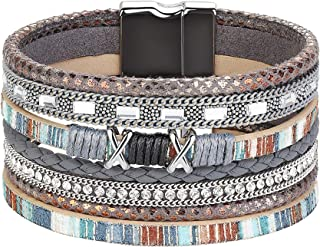 FIBO STEEL Boho Wrap Bracelets for Women Braided Leather Rope Handmade Multi-Layer Cuff Bangle