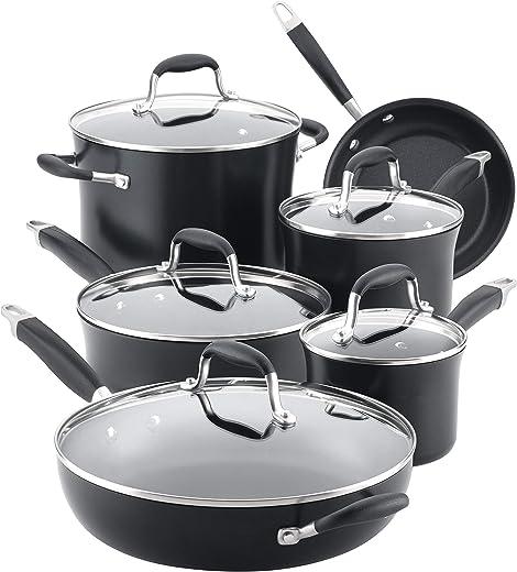 Anolon 84750 11-Piece Hard Anodized Aluminum Cookware Set 11 Piece Black 84750