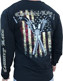 Country Life American Flag and Pistols Black Long Sleeve Shirt