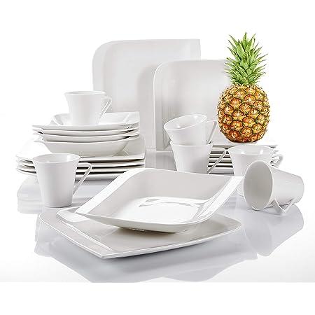 vancasso, Série Gitana, 30 Pcs Service de Table pour 6 Personnes, Service Complet Vaiselle en Porcelaine, Tasses à café, Assiettes à Dessert, Assiettes Creuses Plates