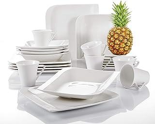 vancasso, série Gitana, Vaisselle Blanche, Service de Table, 30 pièces, pour 6 Personnes, en Porcelaine