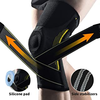 Flexible Neoprene Knee Compression Sleeve Brace for Women and Men with Side Hinged Stabilizers,  Adjustable Straps and Silicone Pad for Meniscus,  Arthritis- Knee Joint Support for Lifting,  Volleyball