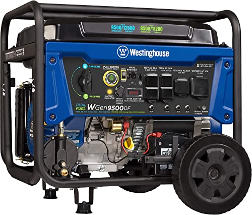 Westinghouse Outdoor Power Equipment WGen9500DF Dual Fuel Portable Generator-9500 Rated 12500 Peak Watts Gas or Propa...