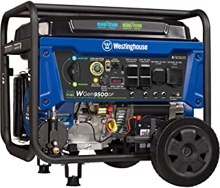 Westinghouse Outdoor Power Equipment WGen9500DF Dual Fuel Portable Generator-9500 Rated 12500 Peak Watts Gas or Propane Po...