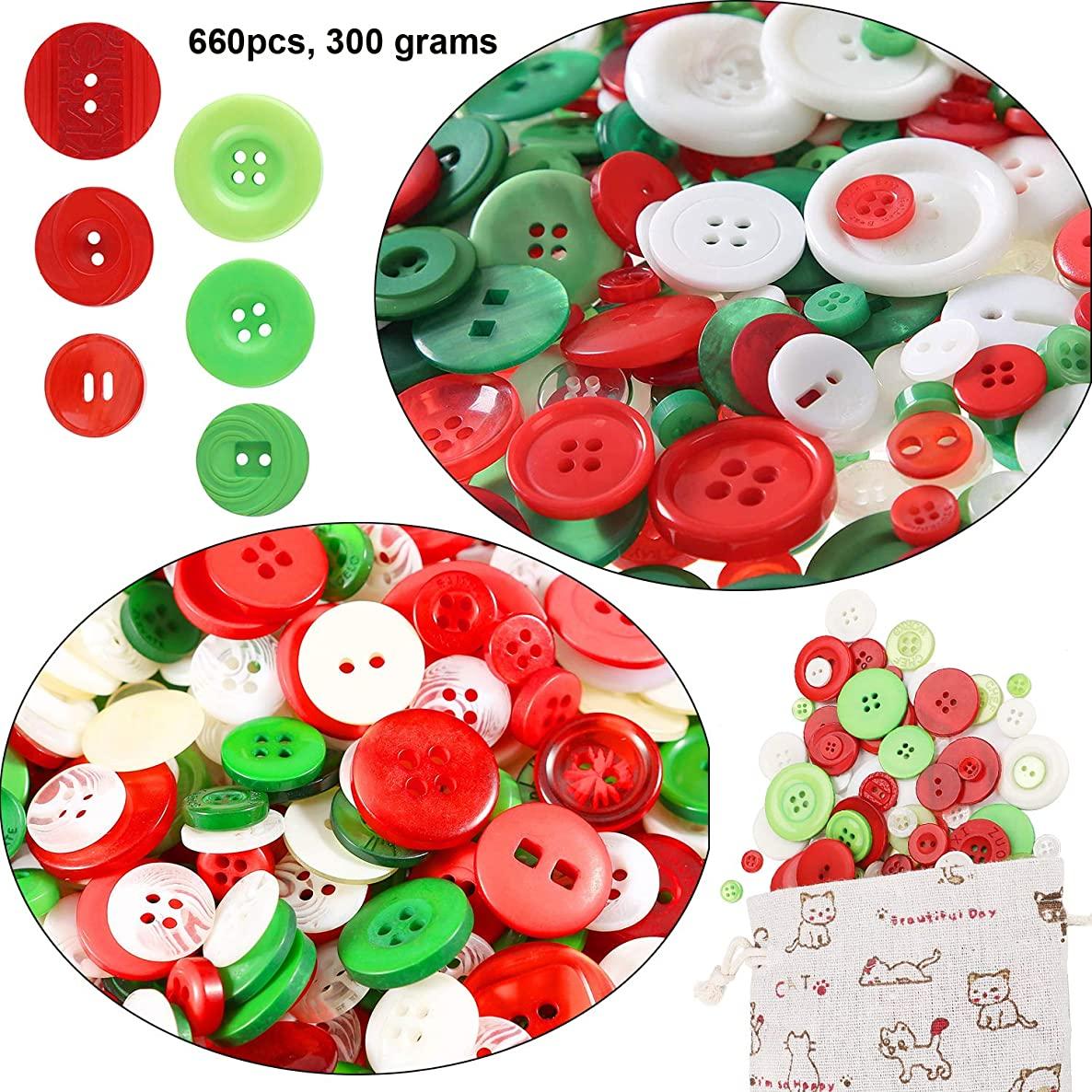Round Craft Resin Buttons for Crafts Sewing Decorations (660pcs) – OOTSR Favorite Findings Basic Buttons for Children's Manual Button Painting with Drawstring Gift Bag (300g, Red, Green and White)