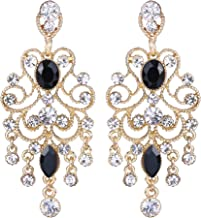 BriLove Women's Vintaged Style Wedding Bridal Crystal Drop Hollow Chandelier Filigree Dangle Earrings