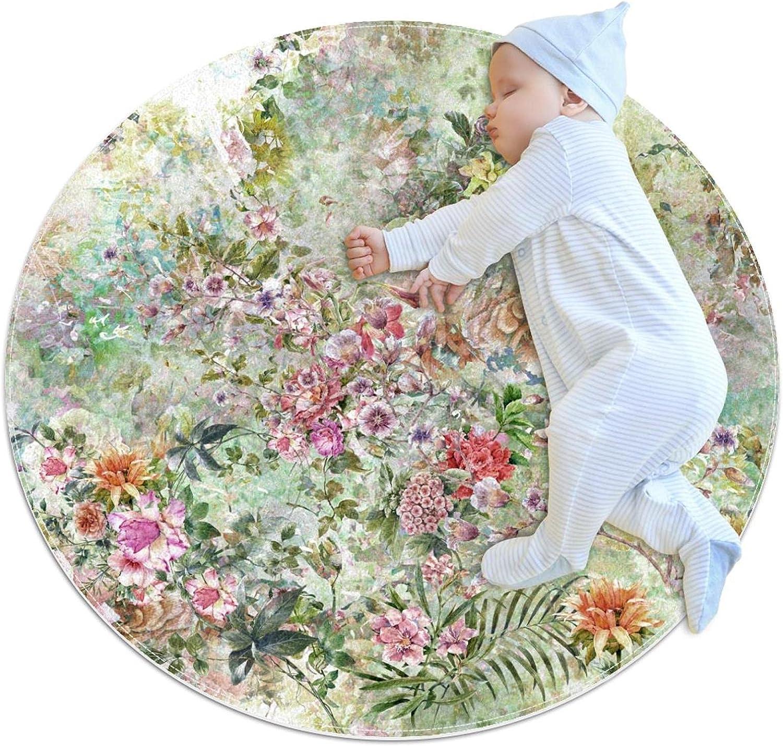 Leaf Flowers Kids Nursery Rug Play Carpet Mat Phoenix Mall Design price Todd Round