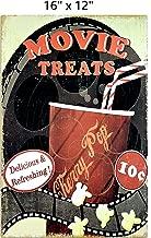 UNiQ Designs MOVIE TREATS POPCORN Media Room Decor Tin Signs Theater Sign - Movie Room Decor Accessories - Film Decor - Home Movie Theater Decor - Movie Reel Wall Decor - Vintage Movie Decor 16x12