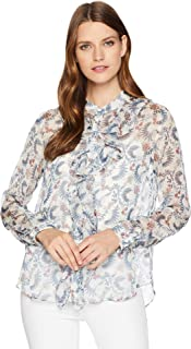 Vince Camuto Women's Long Sleeve Ruffle Front Boutique Floral Blouse