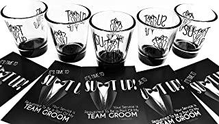 5 Groomsmen Shot Glasses (1.75 oz) & 5 Team Groom Proposal Cards as a Bachelor Party Gift Idea With Suit Up & Drink Up Text & Graphics.