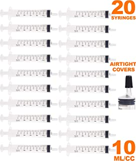 10cc/10ml Syringe with Airtight Cover - Syringe Luer Slip Tip Without Needle - Oral Syringe - Individually Packed & Sterilized Syringes - 20 Pieces + 20 Covers - by MKsupplies